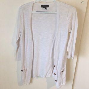 White Button-Down Cardigan